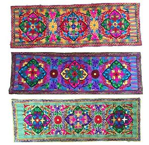 Floral Embroidered Table Runner or Wall Hanging Cotton Long Colourful Boho