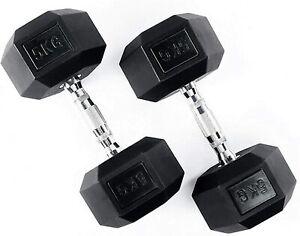 5kg Pair Hex Dumbbells Rubber Weights Sets Hexagonal Dumbbell Gym