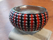 Fashion Bracelet Enamel Black & Red Dotted Silvertone Wide Clamper Chunky