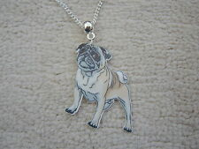 Stunning Pug Resin Necklace.With Organza Bag