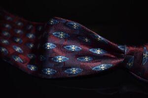 Robert Talbott Limited Edition Plum Red Blue Shield Woven Untip Silk Tie 2/40