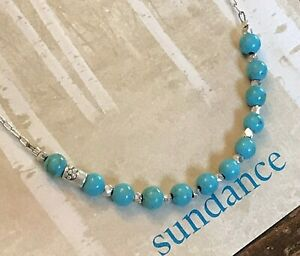 """NEW $98 Sundance 16 1/4"""" Turquoise Sterling Thai Silver Bead Chain Necklace NWT"""