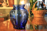 Cobalt Blue Clear Blown Glass Ginger Jar Shaped Vase