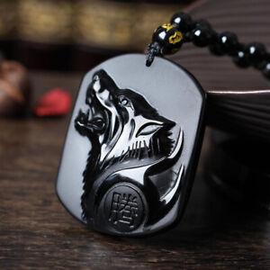 Men Black Obsidian Carving Yin Yang Wolf Dragon Phoenix Necklace Lucky Pendant*z