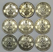 More details for 9 x george vi silver scottish one shilling coins 1937 - 1946 vgc circulated