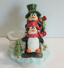 Penguins on Sled Christmas Candle Tealight Holder