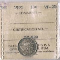 Victoria  10 cents, 1901.  ICCS VF-20