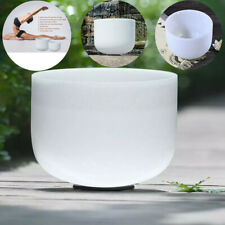 More details for 8 inch chakra frosted quartz crystal singing bowl f note meditation with mallet