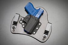 Black Leather Kydex Hybrid Gun Holster IWB Tuck Concealed for Glock 43 9mm