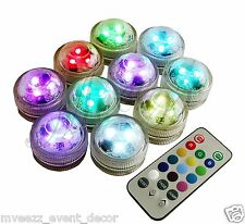 10 TEA LIGHTS WATERPROOF REMOTE CONTROL BRIGHT LED PARTY EVENT CENTREPIECE VASE