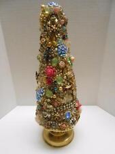 "Vintage Jewelry Christmas Tree Rhinestone 12"" Tall Cottage Shabby Cone Tree"