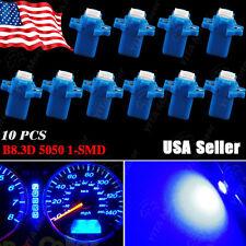 10X Ultra Blue T5 B8.3D 3-Cell 5050 1SMD LED Bulbs Dashboard Dash Gauge Side 12V