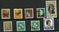 9X 1967-1975 NEW ZEALAND  STAMPS ON BLACK STOCKARD