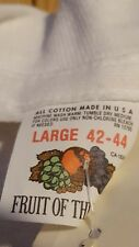 NOS deadstock vintage 80s Fruit of the Loom blank shirt L white plain tags FOTL