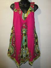 Dress Fit M L XL 1X Sundress Pink Dashiki Africa Mini Dress V Neck Beach NWT 661