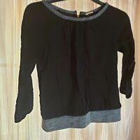 Dana Buchman Women's Blouse Top Long Sleeve Shirt Black - XS