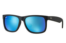 RAY-BAN JUSTIN 55 Color Mix WAYFARER Black Rubber Blue Sunglasses RB 4165 622/55