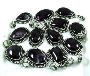 50 PCs Wholesale Lot Natural Purple Amethyst 925 Silver Plated Pendants Jewelry