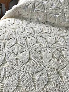 Antique Hand Filet Crochet Lace Bedspread Star Pattern Oatmeal Cotton