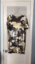 Michael Kors Women's Camo Sequin Dress Olive Green Black White Gold Size Small