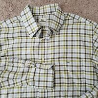 Lacoste Blue White Check Button Up Shirt XL 44 Long Sleeve Plaid Mens Casual