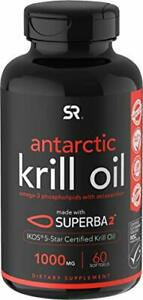 Antarctic Krill Oil (Double Strength) with Omega-3s EPA, DHA, 60 Softgels