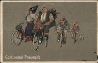 Continental-Pneumatic Tires Family Smoking & Bicycles c1915 Postcard