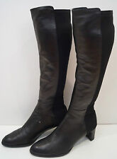 STUART WEITZMAN Black Leather & Fabric Stretch Block Heel Knee High Boots 6.5/7