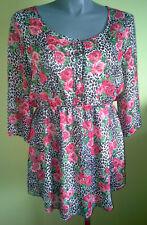 Ladies Womens 3/4 Sleeve Blouse Shirt Top High Waist Print Crossroads Size 18