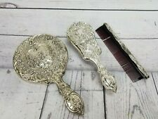 Vintage Silver Elaborately Decorated  Vanity Set Mirror Brush Comb