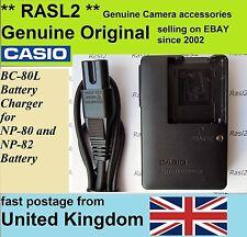 Chargeur original véritable Casio BC-80L NP-80, EXILIM EX-Z1 Z2 zs200 zs100 Z33 Z37