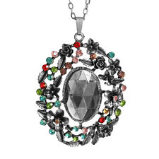 Rose Flower Charm Rhinestone Pendant Necklace with 26inch Oval Chain