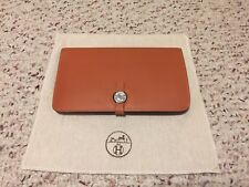 AUTHENTIC HERMES Beautiful Orange  Leather Dogon Long Wallet