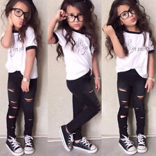 Toddler Kids Girls Outfits Set T-shirt Tops Ripped Pants Leggings Casual Clothes