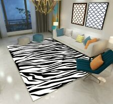 Modern Zebra Safari Rug/Carpet. Black White Non-slip