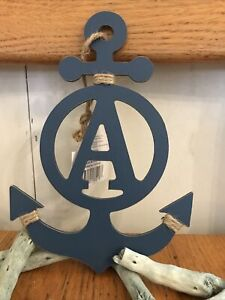 """Nautical Anchor Letter A Sign Tiered Tray Shelf Hanging Decor 8.5"""" X 5.75"""""""