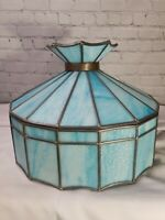 Vintage Blue Slag Leaded Stained Glass Ceiling Hanging Swag Lamp Light
