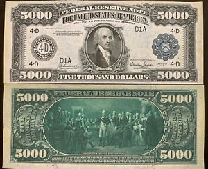 Reproduction Copy 1918 $5,000 Federal Reserve Note Currency USA See Description