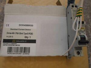 NEW SQUARE D 45 AMP 30mA DOM45B6R30 RCBO CIRCUIT BREAKER