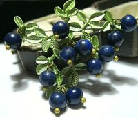 Gorgeous Vintage Style Real Lapis Lazuli Stone BEAD Blueberries Enamel BROOCH