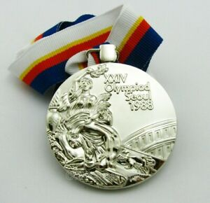 Seoul 1988 Olympic Winners Silver Medal with Ribbon 1:1 Full Size