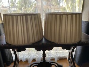Pair of Large Cream or Light Gold Colored Pleated Fabric Lamp Shades