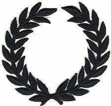 SCA All black Olive Laurel Wreath Embroidery Patch