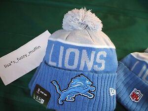 Detroit Lions New Era knit pom hat beanie 2015 -16 NFL On Field 100% AUTHENTIC !