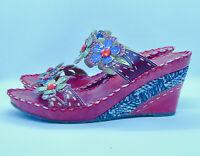 Women's L'Artiste Spring Step Size 38 Deandrea Sandals  Floral Red Color..