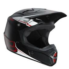 Fox Racing V2 Matte Off Road MX Helmet Flat Black White Red XSmall XS