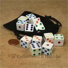 NEW Set of 12 White with Multicolor Pips Dice + Bag RPG D&D Bunco Game D6 16mm