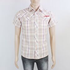 Animal Mens Size S Orange Check Short Sleeve Shirt