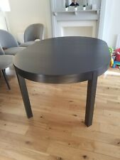Round extendable dining table Ikea Bjursta in Black Brown - Used