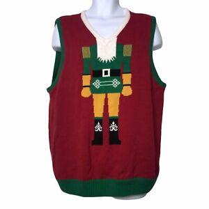 Ugly Christmas Sweater Red Nutcracker Holiday Vest Men's XXL